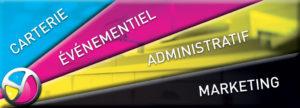 Imprimerie Color 01 : produits imprimés classés Carterie, Événementiel, Administratif ou Marketing