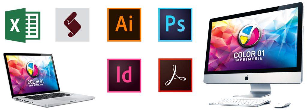 PAO, prépresse et graphisme sur les logiciels de la creative suite d'Adobe, et Microsoft Excel